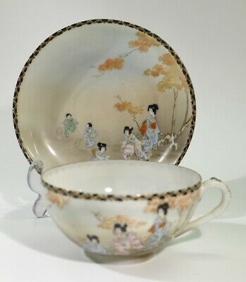 Antique Japanese Late Meiji Period Porcelain Cup & Saucer - Children Playing.