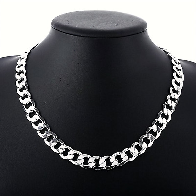 NEW Solid 925 Sterling Silver Flat Curb Chain Mens Necklaces Italian Style Heavy