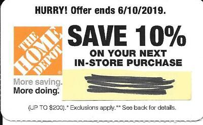 Home Depot 10% off In-store only, expires 6/10//2019