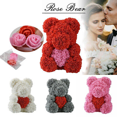 Romantice Rose Teddy Bear Flower Gifts For Wedding Birthday Valentine US I1B7U