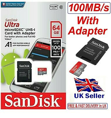 New SanDisk Class 10 Ultra 64GB 100MB/s Micro SD SDHC Memory Card + SD Adapter