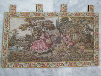 4990 - Old French / Belgium Tapestry Wall Hanging - 94 x 53 cm
