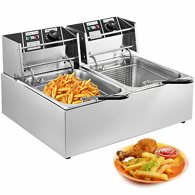 Electric Deep Fryer 12L Stainless Steel Basket Dual Tanks Fat Chip Home Use
