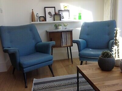 Pair Of Stylish Vintage Retro Original 1950'S Armchairs Mid Century Teal Chairs