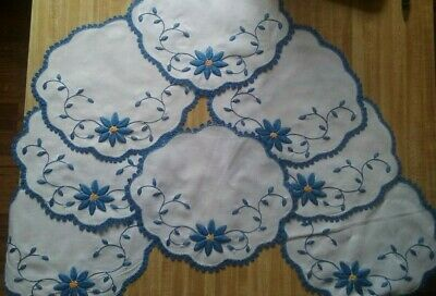 Vintage Embroidered Blue and Yellow Flower Table Runner w Eight Plate Settings