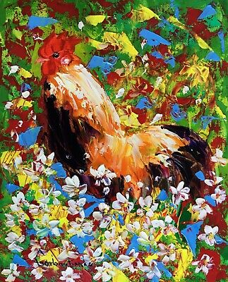 Rooster Original Oil Painting by Tetiana