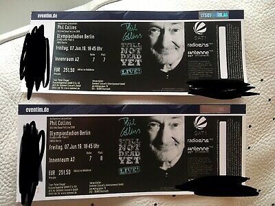 2x Phil Collins Berlin Tickets Konzert Fr. 07.06.2019 TOP Innenraum A2