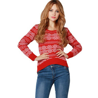 Women Winter Long Sleeve O-neck Striped Sweater Knitted Casual Pullover Jumper L