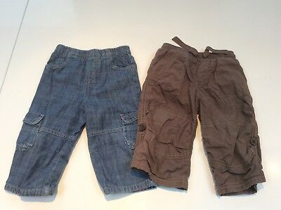Boys X2 Trousers Next Brown Trousers + Jeans Elasticated Waist 9-12 Months Vgc