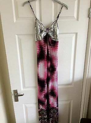 Bnwt New Ladies Older Girls Capricious Long Maxi Dress Silver Sequins Size 8 New