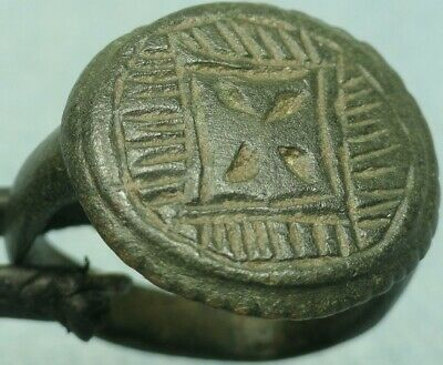 Museum Quality Byzantine Bronze Shield Ring, Haloed Cross