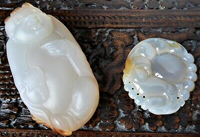 Antique/vtg Chinese carved agate Toggle of boy & dragon pendant.