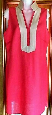 Nwt Sail-To-Sable Classic Linen Tunic Dress Sz M Hot Pink/White Trim Nautical