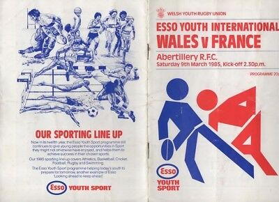 1985 Wales V France-9/3/85-Youth International Rugby Union Programme