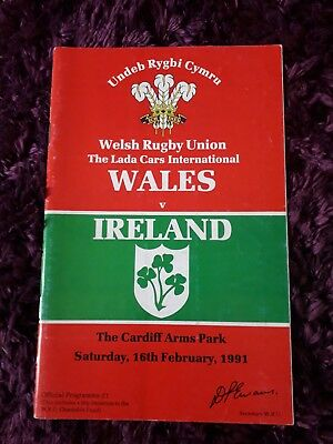 1991-Wales V Ireland-Five-5 Nations-International Rugby Union Programme-Vgc