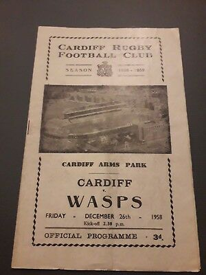 1958-Cardiff-Wales V Wasps-England-Welsh-Anglo Club Friendly-Rugby Programme