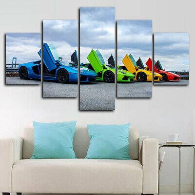 Framed Lamborghini Aventador Colors Car  5 Piece Canvas Print Wall Art Decor