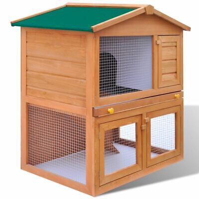 2 Level Wooden Rabbit Hutch Small Animal House Timber Pet Cage Guinea Pig