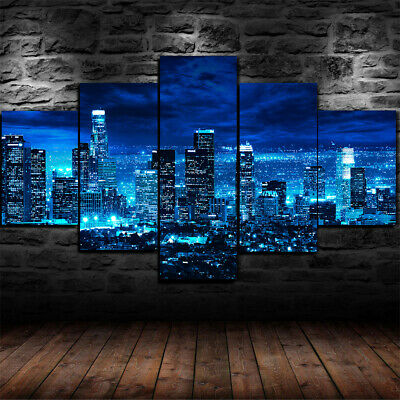 Framed Los Angeles Skyline night time Poster 5 Piece Canvas Print Wall Art Decor