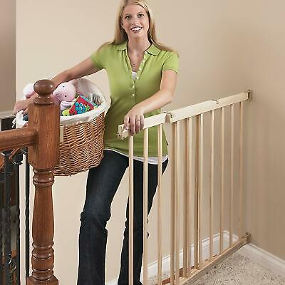 Evenflo Top of The Stair Extra Tall Hardware Mount Gate Baby Tan Wood