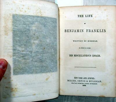 """1856 BENJAMIN FRANKLIN Autobiography – With Essays inc. """"On the Slave Trade"""""""