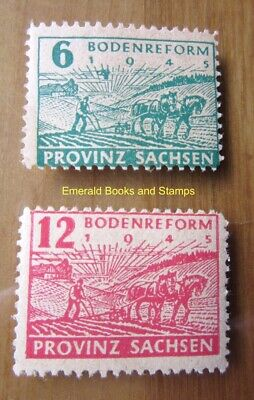 EBS Germany 1945 Soviet Zone SBZ Saxony Land Reform PERF Michel 85-86A MNH** (h)