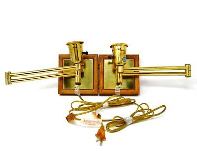 Vintage set of 2 Brass wood trim Wall Mounted Swing Arm Reading Lamps