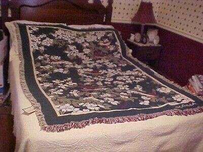 Vintage Bob Timberlake Collection Woven Blanket White Flowers And Birds