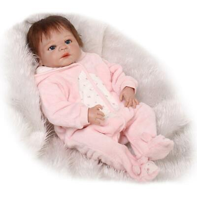 """Reborn Toddler Dolls Girl 23"""" Full Body SIlicone Bath Doll Rooted Mohair"""