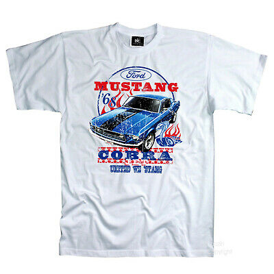 classic Ford 68`Mustang Shelby Cobra 60s Automotiv Muscle Car T-Shirt *0192 wh
