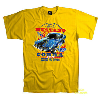 classic Ford Mustang Shelby Cobra 60s US american Muscle Car T-Shirt *0192 gelb