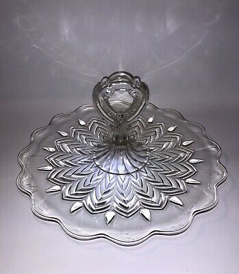 Vintage Depression Jeanette Glass Tidbit Sandwich Tray Center Handle Feather