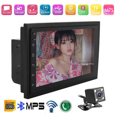 "Android 8.1 Double 2Din 7"" MP5 Player Quad Core FM Radio Car Stereo with camera"