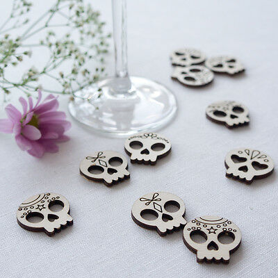 Laser cut wooden sugar skulls table decor confetti L083 Day of the dead