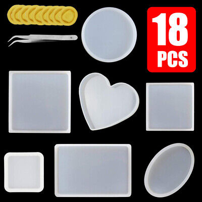 18Pcs Silicone Clear Mold Clay Resin Casting DIY Pendant Jewelry Making Mould