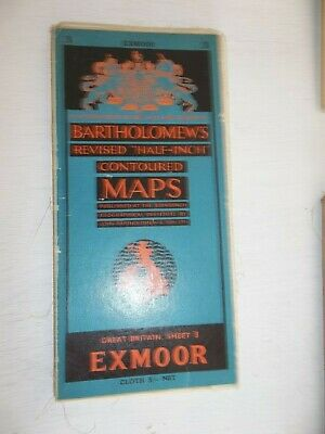 Bartholomews Revised Half-Inch Contoured Cloth Map 3 EXMOOR  50s