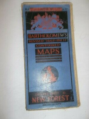 Bartholomews Revised Half-Inch Contoured Cloth Map  NEW FOREST  40s