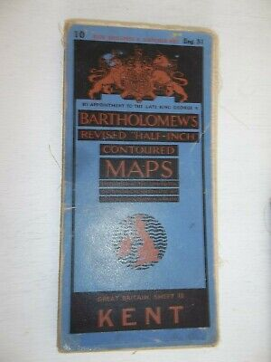 Bartholomews Revised Half-Inch Contoured Cloth Map 31  KENT  50s