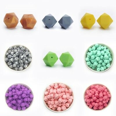 10 PC Hexagon Silicone Beads DIY Baby Chewable Teething Necklace Teether Making