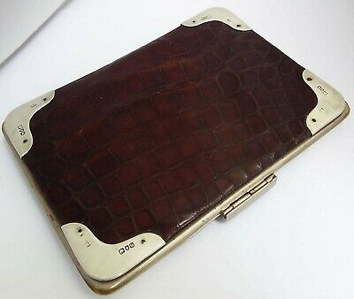 Superb Large Clean English Antique 1900 Sterling Silver & Crocodile Skin Wallet