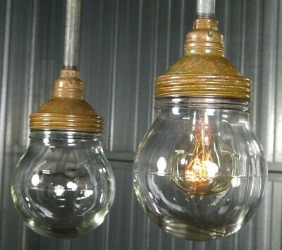 Vtg 1930s BENJAMIN INDUSTRIAL COPPER EXPLOSION PROOF LIGHT old factory - 4 avail