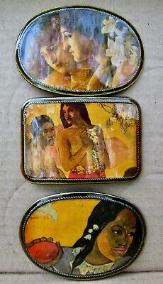 Lot 3 diff ISLAND GIRL Belt Buckles ART Gauguin Tahiti Masterwork Brass RARE VG+