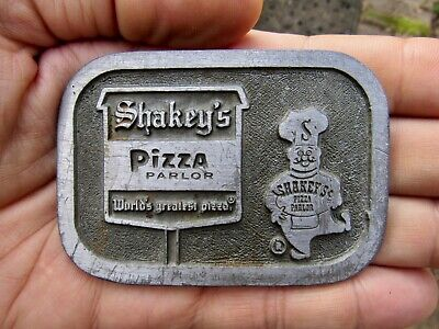 Vtg SHAKEY'S PIZZA Belt Buckle CHEF Greatest Pizzeria Pewter RARE VG+