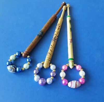 3 Painted Lace Bobbins By Sarah Jones with Flowers. Spangles.