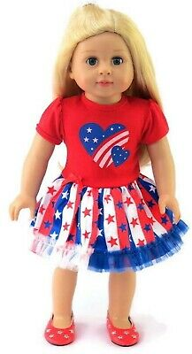 Patriotic Stars & Hearts Dress fits 18 inch American Girl Doll Clothes