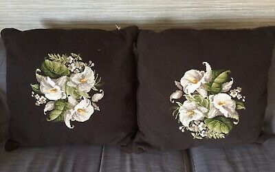 Pair Of Vintage 60cm English Needlepoint Wool Cushions Embroidered With Lillies