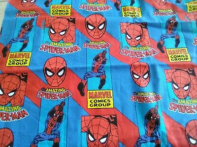 Marvel's AMAZING SPIDERMAN on blue + Red cotton fabric Quilt Sew Craft