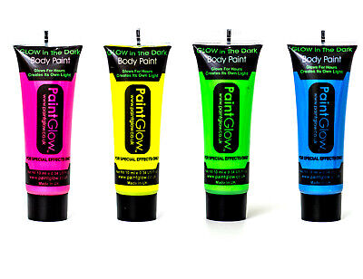 Set of 4 Paintglow Neon Glow in the Dark Face & Body Paint Rave Festival Party