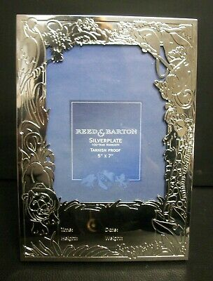 Reed & Barton Silverplate 5X7 Baby Picture Frame Engraveable Jungle Animals