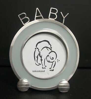 "Robinwood Pewter ? Baby Picture Frame Small Round Mint Green 3"" Photograph"